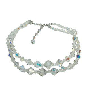 """Vintage 16"""" 1950's AB Crystal Necklace"""